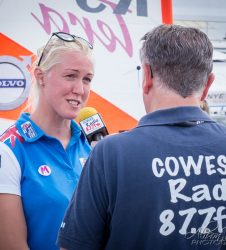Event Photography Cowes Radio interviewing a member of The British Sailing Team