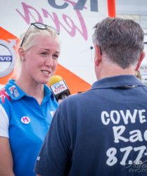 Commercial Event Photography Cowes Radio interviewing a member of The British Sailing Team