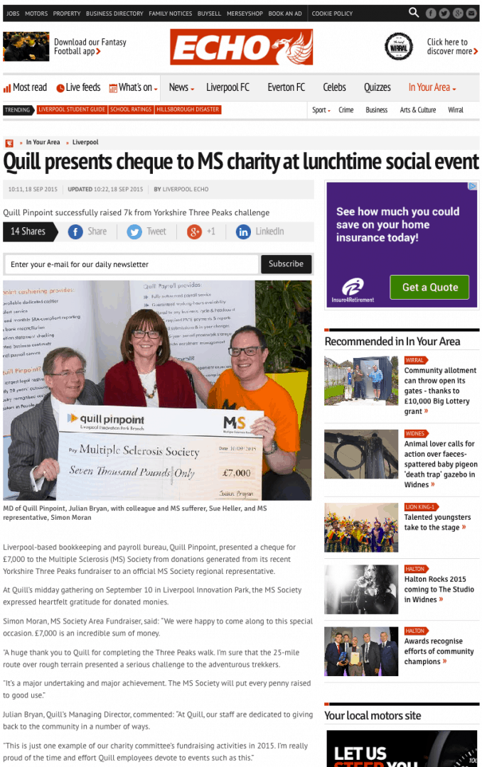 Liverpool Echo Article - Multiple Sclerosis Charity Presentation Photoshoot, Liverpool